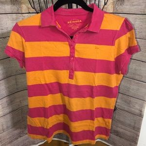 Pink and Orange Striped Polo